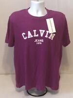 New CALVIN KLEIN Men's T-SHIRT CREW-NECK SHORT-SLEEVE S Logo Print T-Shirt Pink