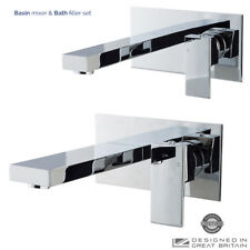 Chrome Wall Mounted Square Basin Mixer & Bath Filler Tap Set Modern Bathroom