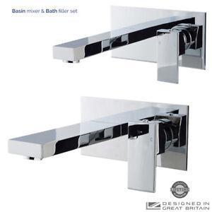 Chrome Wall Mounted Square Basin Mixer & Bath Filler Tap Set Modern Bathroom
