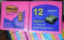 Lot of 4 12-Pack POST-IT Notes 3x3 For Pop-Up Note Dispensers -Neon Colors   #AE