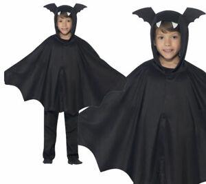 Bat Cape Childrens Halloween Fancy Dress Accessory Black Bats Cape 2 Sizes