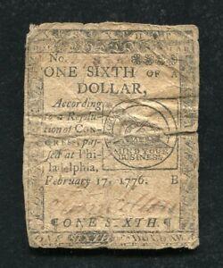 """CC-19 FEBRUARY 17, 1776 $1/6 ONE SIXTH DOLLAR CONTINENTAL CURRENCY """"FUGIO"""" (B)"""