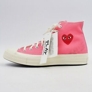 New w/Blemish CDG PLAY x Converse Chuck 70's High 'Bright Pink' US 8.5 -BBR2279