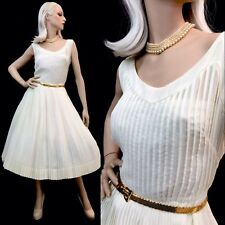 Vintage 50s Pin Up Rockabilly Dress Ivory VLV full Airy SHEER Swing 40s XL