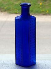 Old cobalt blue coffin shaped RIGO Glass 6oz POISON bottle *FREE SHIPPING!