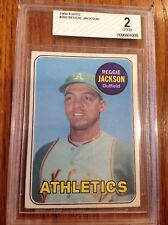 1969 TOPPS #260 REGGIE JACKSON ROOKIE CARD BVG BGS 2 NEAR MINT no creases marked