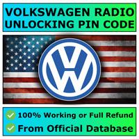 Volkswagen VW Radio PIN Code RCD510 500 310 300 215 210 200 Beta Gamma Fast ✅