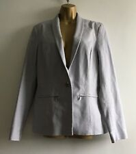 Long Tall Sally Silver Grey Smart Fitted Jacket Sz 12 Blazer Long Sleeves