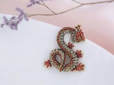Broche Doré Dragon Rouge Cristal Class XZ8
