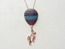 ROSE GOLD 925 STERLING SILVER SAPPHIRE TURQUOISE BALOON GOOD LUCK NECKLACE