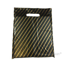 "100 Black & Gold Stripe Plastic Carrier Bags 9""x11"" Gift Party Patch Handle"