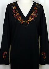 LARGE Black Autumn Leaves Rhinestone Hand Embellished Top Shirt