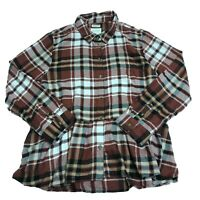 NWT American Eagle Ahhmazingly Soft Plaid Print Ruffle Button Front Blouse Shirt