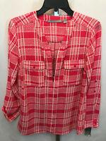 Women's Valerie Stevens Pink White Plaid Long Sleeve Blouse Shirt S Small New