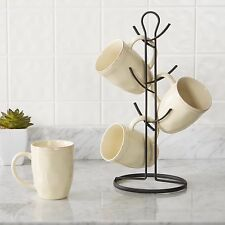 Black Style Mug Tree 6 Cup Holder Organizer Kitchen Storage Coffee Teacups Stand