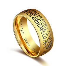 Men Women Black Gold Stainless Steel Religious Ring Islam Muslim Proverbs Ring