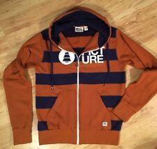 Picture Organic Clothing Mens Hooded Sweatshirt Small Rust Orange Navy Full Zip