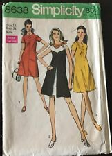 Vintage Simplicity 1969 Sewing Pattern #8638 Misses One-Piece Dress Size 12