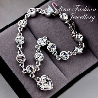 18K White Gold Plated Made With Swarovski Crystal love Heart Silver Bracelet