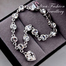 18K White Gold Plated Made With Swarovski Crystal love Heart Silver Bracelet