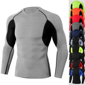 Mens Compression Shirt Long Sleeve Top Workout Gym Base Layer Sportswear Clothes