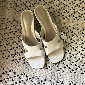 Pesaro White Leather Sandals Heels Size 8M In Great Used Condition!