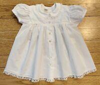 Vintage 1950s CAROL JOY Baby Girl Dress Sz 6-12 Mo White Button Front Lace