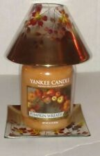 YANKEE CANDLE GOLD OMBRE COLLECTION   GLASS JAR SHADE & PLATE SET + CANDLE NWTS