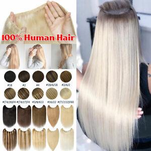Russian Remy Human Hair Extensions Secret Wire In Hidden Halos Headband UK HT208
