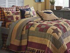 Vhc Ninepatch Star Black Burgundy Farmhouse Patchwork Queen Quilt Set 3pc