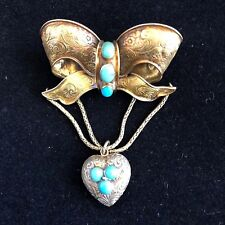 Victorian 14 k Gold Bow Brooch with Natural Tortoise and Locket