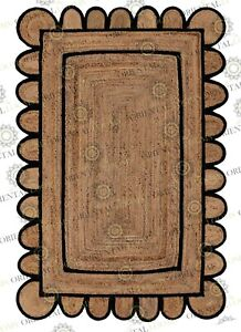 Scallop Jute Black Hand Made Rug, Bohemian Decor, Customize in Any Size....