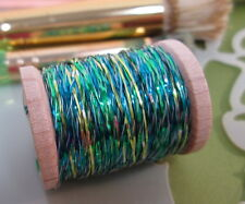 Vintage Turquoise - Lime - Emerald Green Metallic Tinsel  Fly Tying  Weave Knit