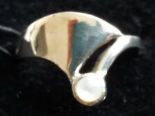 Sterling Silver White Enamel Ring Size K