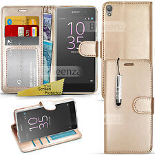 For Sony Xperia E5  - Wallet Leather Case Flip Book Cover + Screen Protector