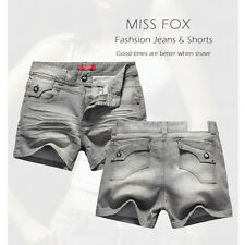Ladies Miss Fox Grey Denim Women Jeans Shorts-size 14