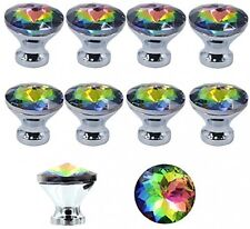 10 Pack Colourful Gorgeous Crystal Glass Knob Drawer Pulls Handle 30mm for Doors