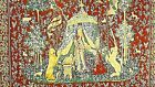RENAISSANCE FRENCH HANGING TAPESTRY COURT SCENE W/PRINCESS,SERVANTS AND LIONS