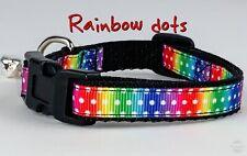 "Rainbow dots cat or small dog collar 1/2"" wide adjustable handmade bell leash"