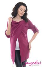 Purpless Maternity 2 in 1 Pregnancy and Nursing Sweater Cardigan Coat B9005 Dark Pink 12/14