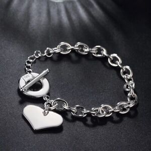 925 Sterling Silver Heart Chain Bracelet Adjustable [Hallmarked] with Rhodium