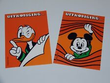 DISNEY POST CARDS (2X) BIRTHDAY INVITATIONS MICKEY & DONALD 1980s FANTA DUTCH