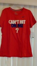 "Nike Red Phillies ""Can't Hit On Me"" Crew Neck T Shirt Size XL New with Tags"