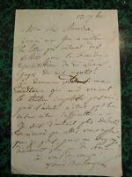 Louis BOULANGER (1806-1867) LETTRE AUTOGRAPHE SIGNEE PEINTRE ROMANTISME THEATRE