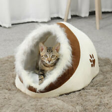 Warm Pet Dog Cat Bed Beige Kitten Igloo Puppy Cave Mat Soft Fleece House Cushion