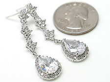 36B Bridal Silver Plated Vintage Look Cubic Zirconia cz Teardrop Earrings
