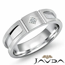 Princess Solitaire Diamond Mens Half Wedding Band 6mm Unique Ring Platinum 0.1Ct