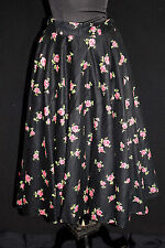 COLLECTABLE VINTAGE 1950'S BLACK ROSE FLORAL COTTON FLANNEL CIRCLE SKIRT SZ 27W