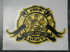 """Firefighter Decal, Courage Under Fire, Gold Vinyl Decal, 6.25"""" wide  #FD10"""