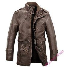 Mens Motorcycle Jacket PU Leather Parkas Belt Trench Coat Lining Windbreaker